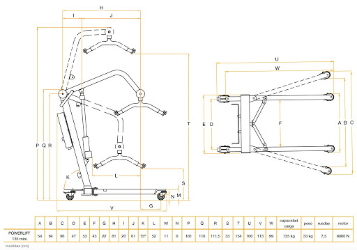 ortopedia valdecilla medidas grua powerlift 135 tecnimoem mini grua